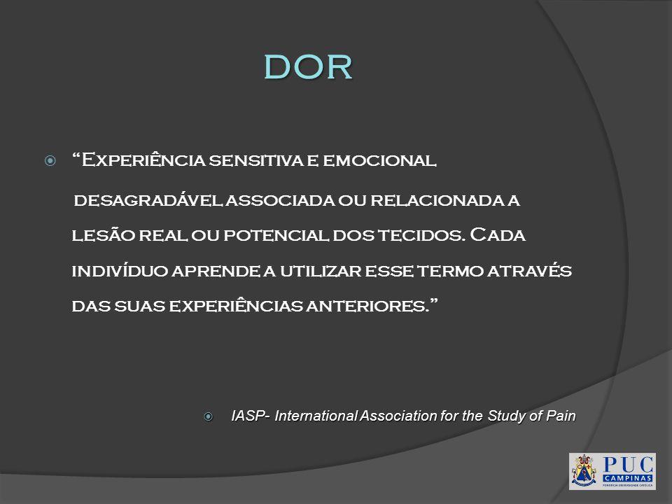 dor Experiência sensitiva e emocional desagradável associada ou relacionada a lesão real ou potencial dos tecidos. Cada indivíduo aprende a utilizar e