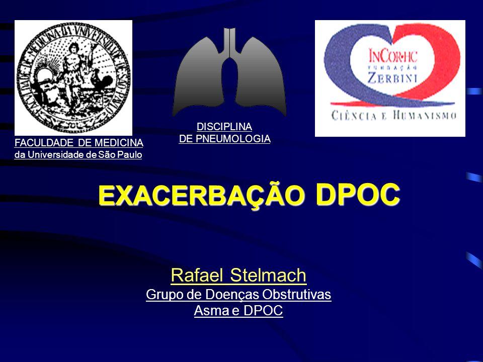 DPOC AGUDIZADA Mortalidade (n= 1016 pacientes) Hospitalar (hipercapnia):Hospitalar (hipercapnia): 10% Tardia:Tardia: 20% - 6 m 33% - 9 m 43% - 1 ano 49% - 2 anos Fatores Risco: –+velhos; pior VEF1; > co-morbidades; JRCCM, 1996 – GOLD