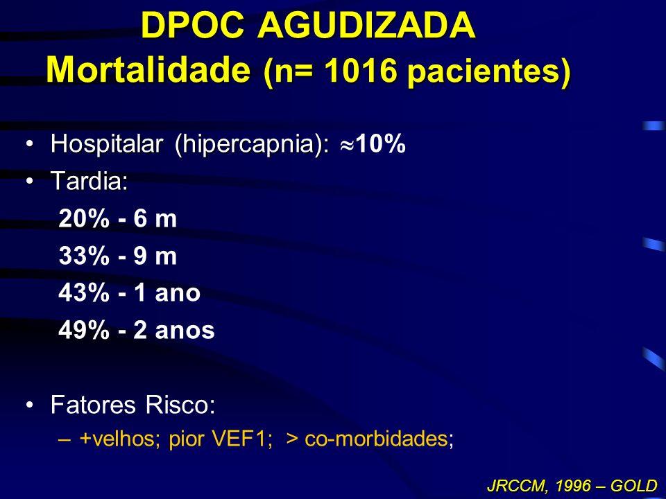 DPOC AGUDIZADA Mortalidade (n= 1016 pacientes) Hospitalar (hipercapnia):Hospitalar (hipercapnia): 10% Tardia:Tardia: 20% - 6 m 33% - 9 m 43% - 1 ano 4