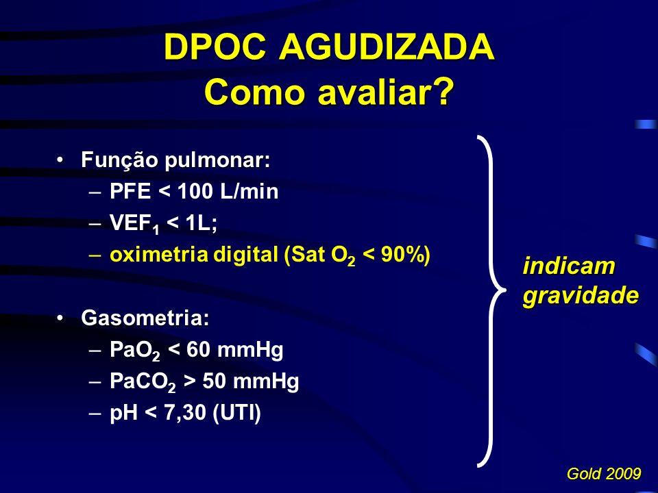 DPOC AGUDIZADA Como avaliar ? Função pulmonar:Função pulmonar: –PFE < 100 L/min –VEF 1 < 1L; –oximetria digital (Sat O 2 < 90%) Gasometria:Gasometria: