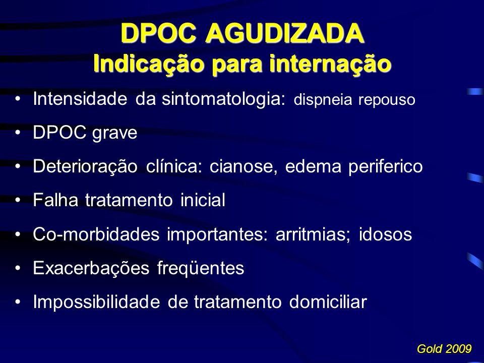 Intensidade da sintomatologia: dispneia repouso DPOC grave Deterioração clínica: cianose, edema periferico Falha tratamento inicial Co-morbidades impo