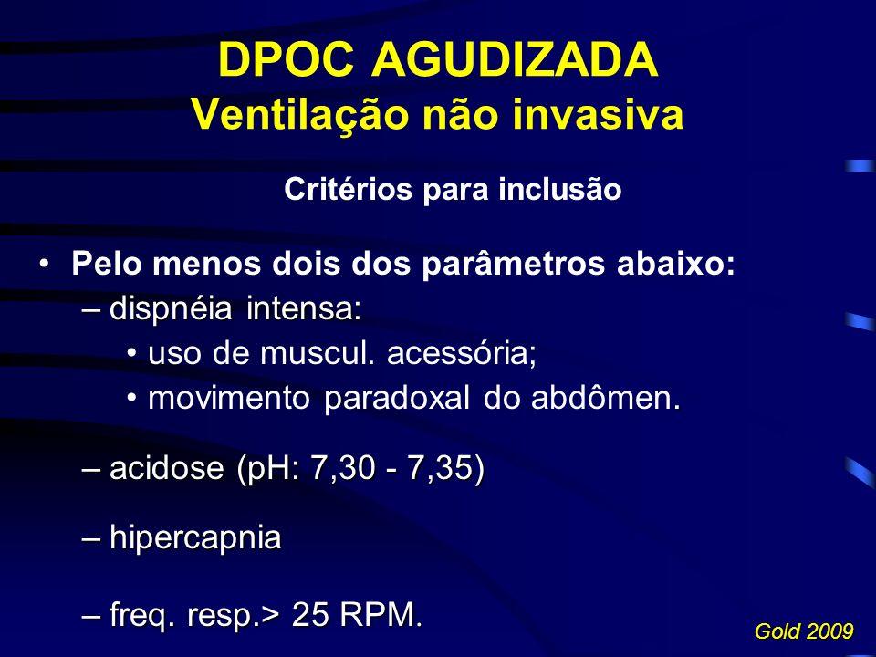 DPOC AGUDIZADA Ventilação não invasiva Critérios para inclusão Pelo menos dois dos parâmetros abaixo: –dispnéia intensa: uso de muscul.