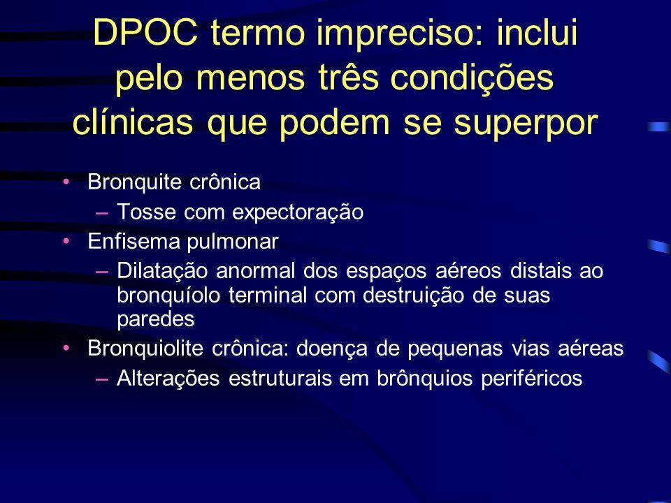 DPOC termo impreciso: inclui pelo menos três condições clínicas que podem se superpor Bronquite crônica –Tosse com expectoração Enfisema pulmonar –Dil
