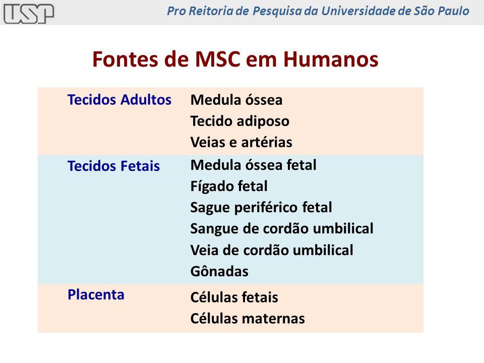 Tecidos Adultos Fontes de MSC em Humanos Tecidos Fetais Placenta Medula óssea Tecido adiposo Veias e artérias Medula óssea fetal Fígado fetal Sague pe