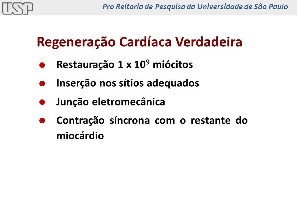 Regeneração Cardíaca Verdadeira Restauração 1 x 10 9 miócitos Inserção nos sítios adequados Junção eletromecânica Contração síncrona com o restante do