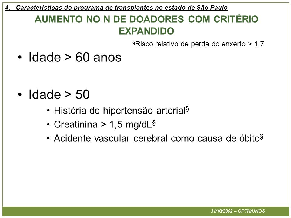 AUMENTO NO N DE DOADORES COM CRITÉRIO EXPANDIDO Idade > 60 anos Idade > 50 História de hipertensão arterial § Creatinina > 1,5 mg/dL § Acidente vascul
