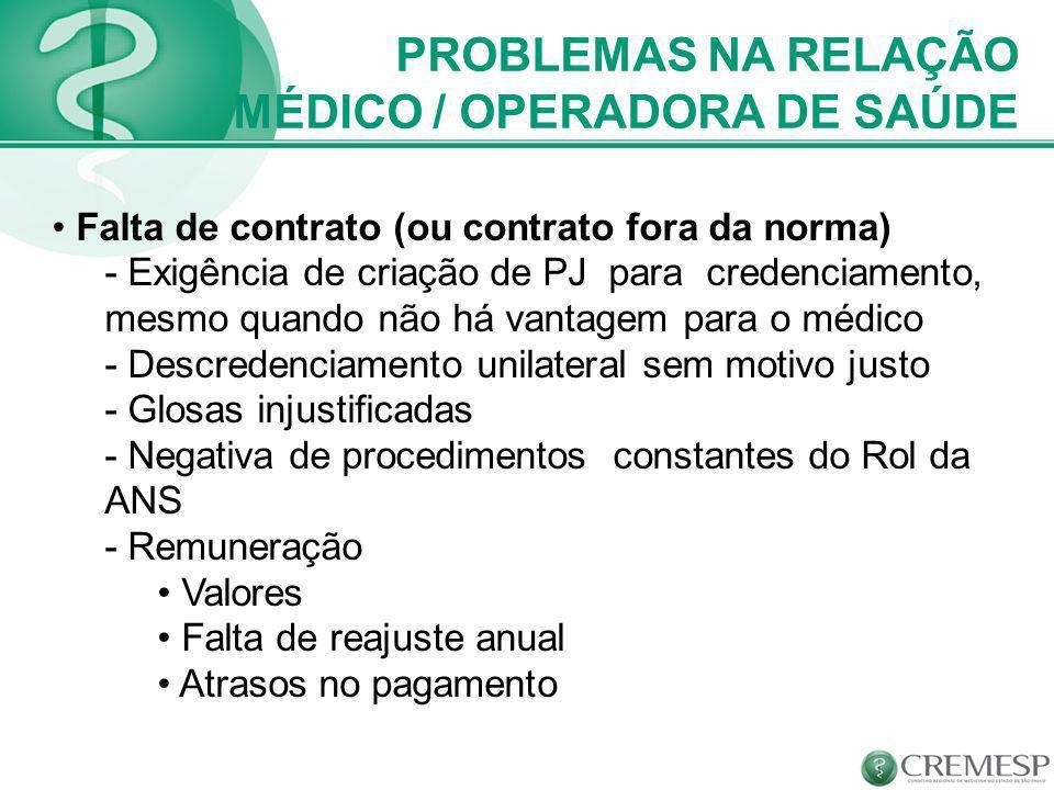 PROBLEMAS NA RELAÇÃO MÉDICO / OPERADORA DE SAÚDE Falta de contrato (ou contrato fora da norma) - Exigência de criação de PJ para credenciamento, mesmo