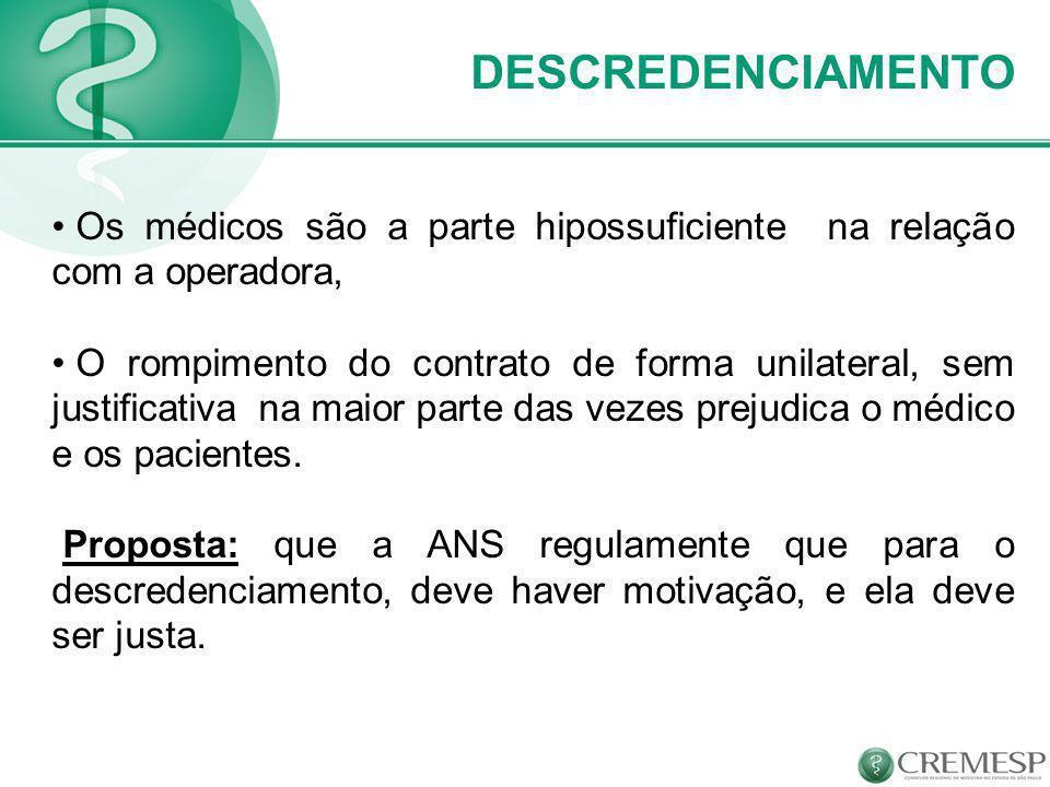 DESCREDENCIAMENTO Os médicos são a parte hipossuficiente na relação com a operadora, O rompimento do contrato de forma unilateral, sem justificativa n