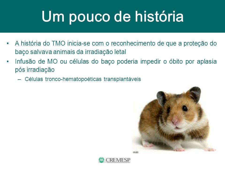 A história do TMO inicia-se com o reconhecimento de que a proteção do baço salvava animais da irradiação letal Infusão de MO ou células do baço poderi