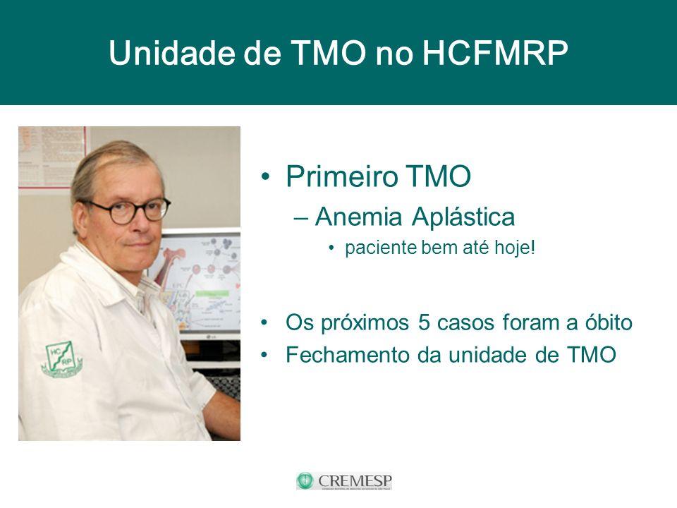 Unidade de TMO no HCFMRP Primeiro TMO –Anemia Aplástica paciente bem até hoje! Os próximos 5 casos foram a óbito Fechamento da unidade de TMO