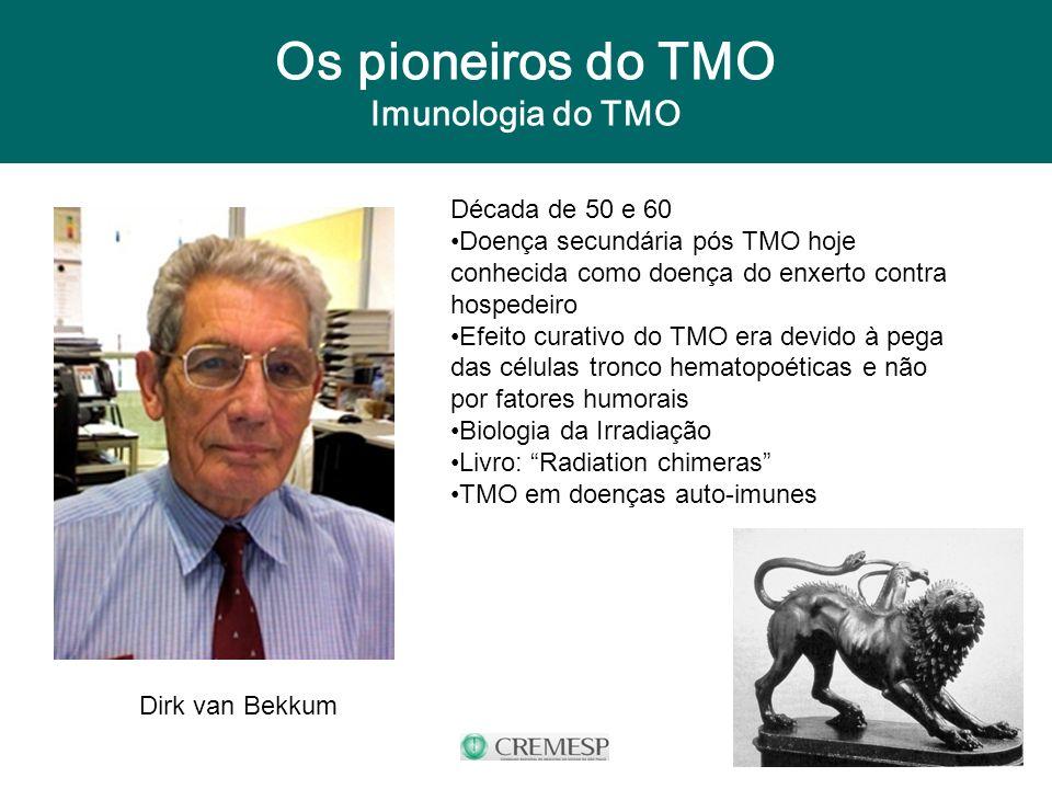 Os pioneiros do TMO Imunologia do TMO Dirk van Bekkum Década de 50 e 60 Doença secundária pós TMO hoje conhecida como doença do enxerto contra hospede
