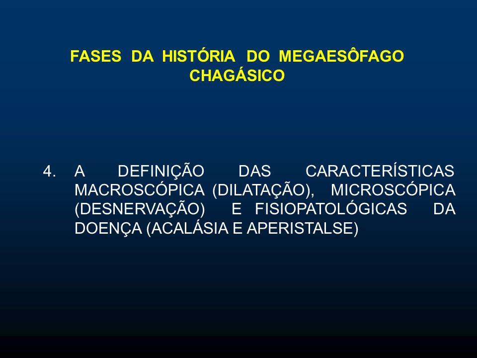 FASES DA HISTÓRIA DO MEGAESÔFAGO CHAGÁSICO 4.A DEFINIÇÃO DAS CARACTERÍSTICAS MACROSCÓPICA (DILATAÇÃO), MICROSCÓPICA (DESNERVAÇÃO) E FISIOPATOLÓGICAS DA DOENÇA (ACALÁSIA E APERISTALSE)