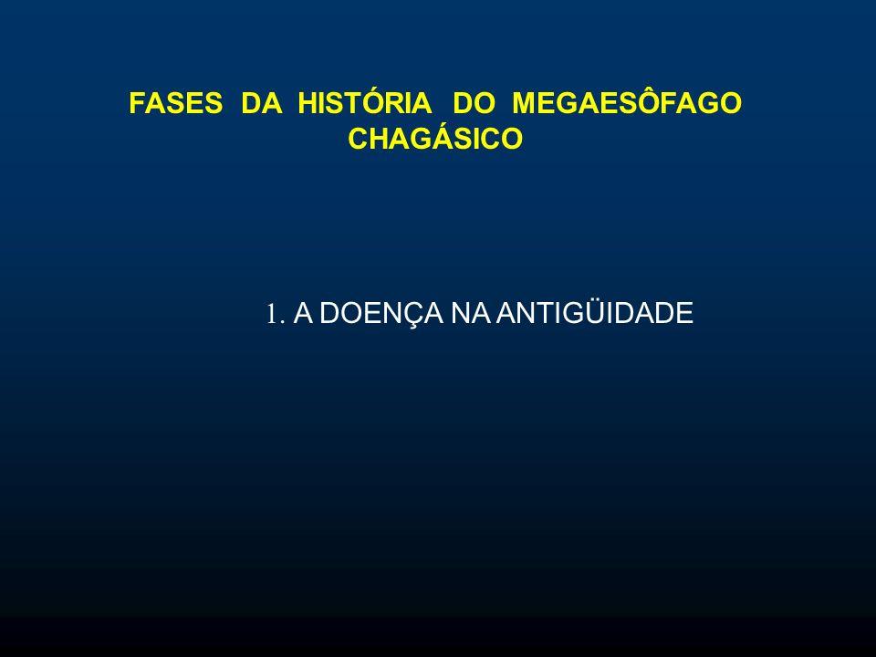 FASES DA HISTÓRIA DO MEGAESÔFAGO CHAGÁSICO 1. A DOENÇA NA ANTIGÜIDADE