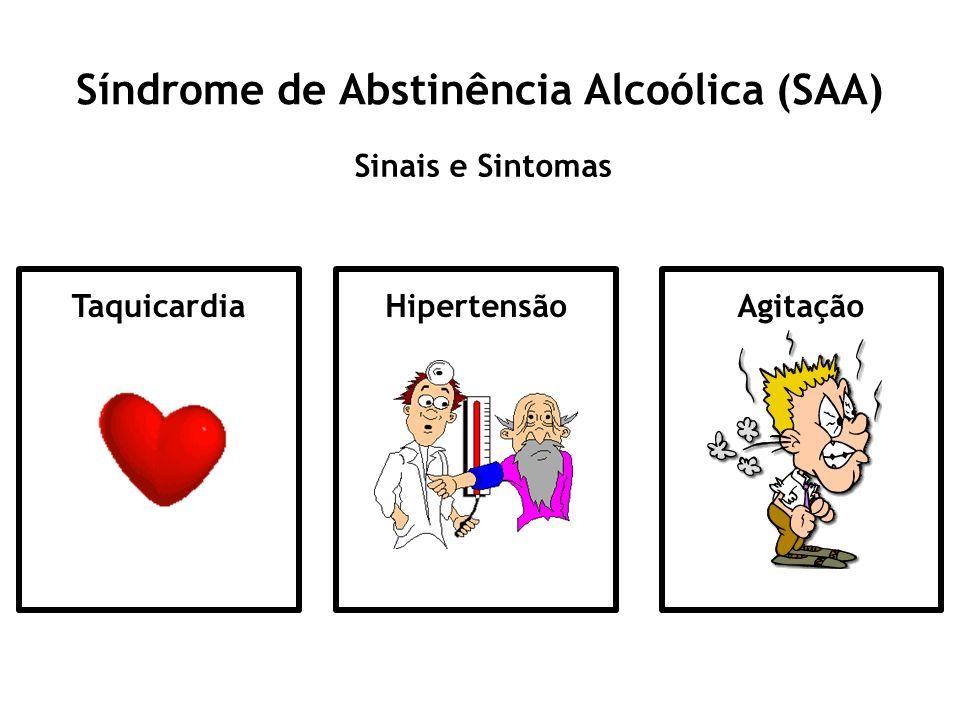 Síndrome de Abstinência Alcoólica (SAA) Sinais e Sintomas TaquicardiaHipertensãoAgitação