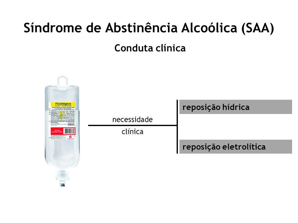 Síndrome de Abstinência Alcoólica (SAA) Conduta clínica necessidade clínica reposição hídrica reposição eletrolítica