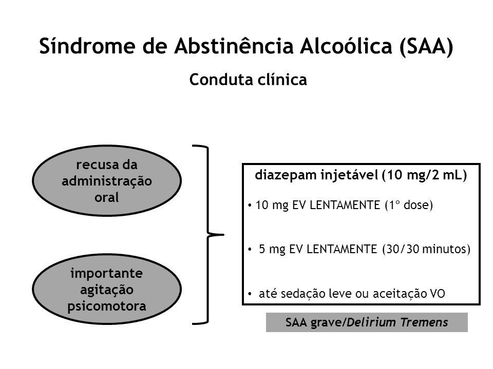 Síndrome de Abstinência Alcoólica (SAA) Conduta clínica recusa da administração oral importante agitação psicomotora diazepam injetável (10 mg/2 mL) 1