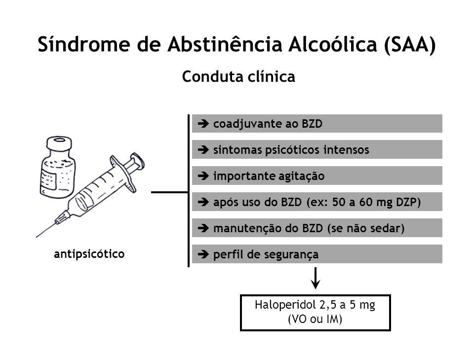 Síndrome de Abstinência Alcoólica (SAA) Conduta clínica antipsicótico coadjuvante ao BZD sintomas psicóticos intensos importante agitação após uso do