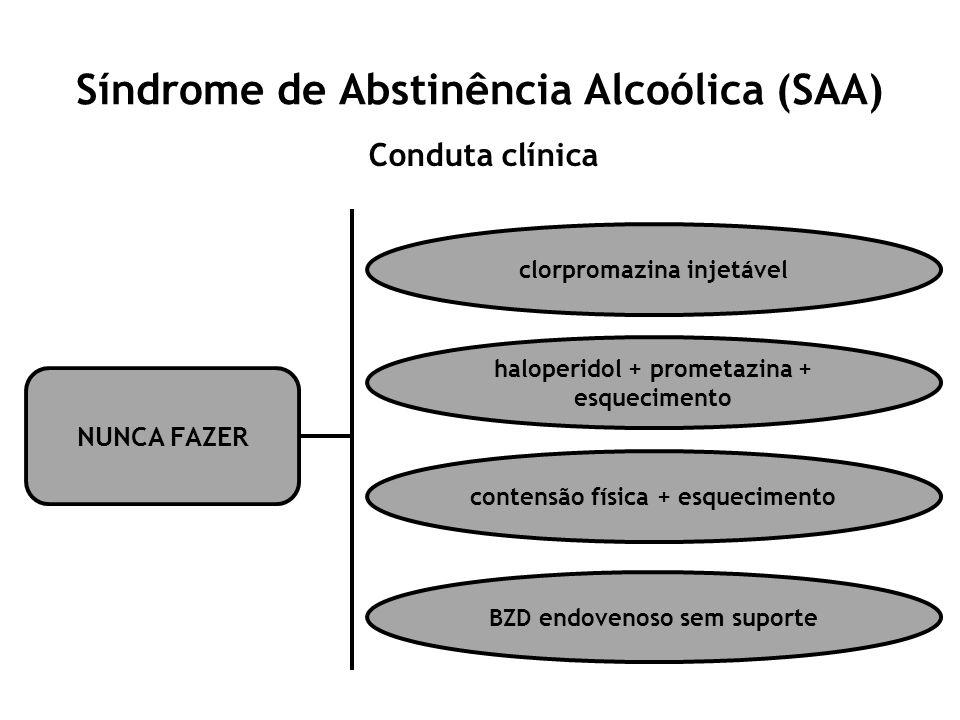 Síndrome de Abstinência Alcoólica (SAA) Conduta clínica NUNCA FAZER clorpromazina injetável haloperidol + prometazina + esquecimento contensão física