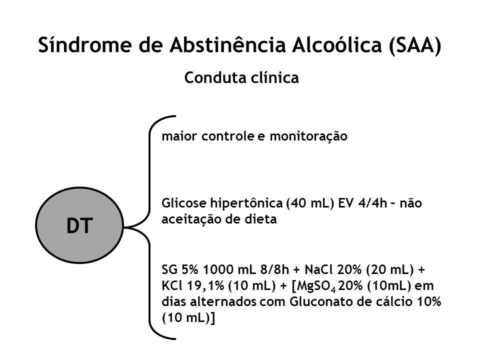 Síndrome de Abstinência Alcoólica (SAA) Conduta clínica DT maior controle e monitoração Glicose hipertônica (40 mL) EV 4/4h – não aceitação de dieta S