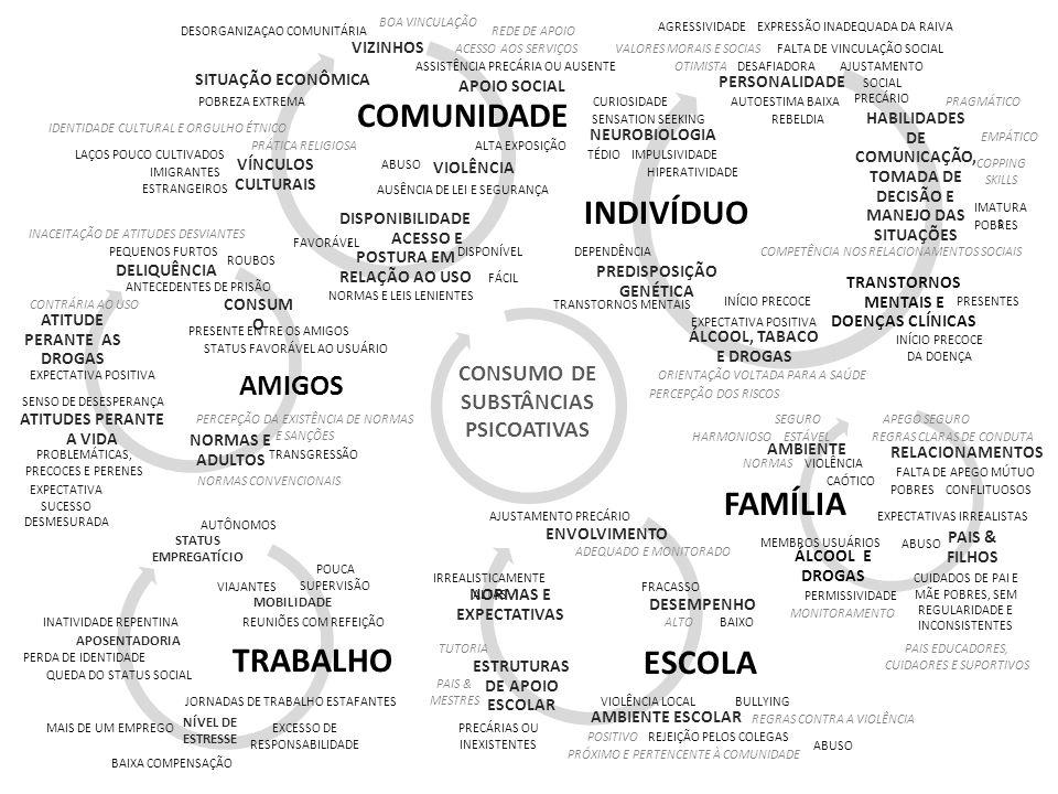 VIZINHOS VÍNCULOS CULTURAIS DISPONIBILIDADE, ACESSO E POSTURA EM RELAÇÃO AO USO VIOLÊNCIASITUAÇÃO ECONÔMICA PERSONALIDADE HABILIDADES DE COMUNICAÇÃO,
