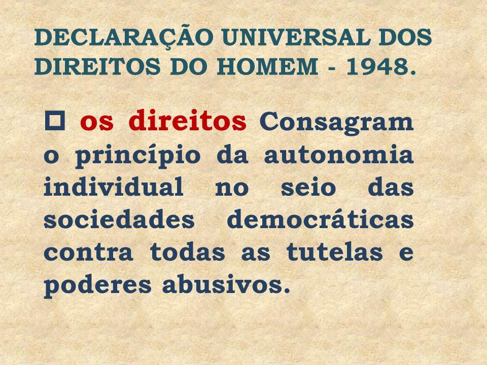 os direitos Consagram o princípio da autonomia individual no seio das sociedades democráticas contra todas as tutelas e poderes abusivos. DECLARAÇÃO U