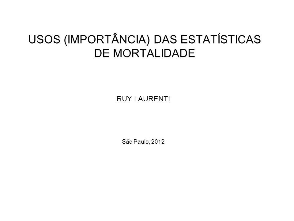 USOS (IMPORTÂNCIA) DAS ESTATÍSTICAS DE MORTALIDADE RUY LAURENTI São Paulo, 2012