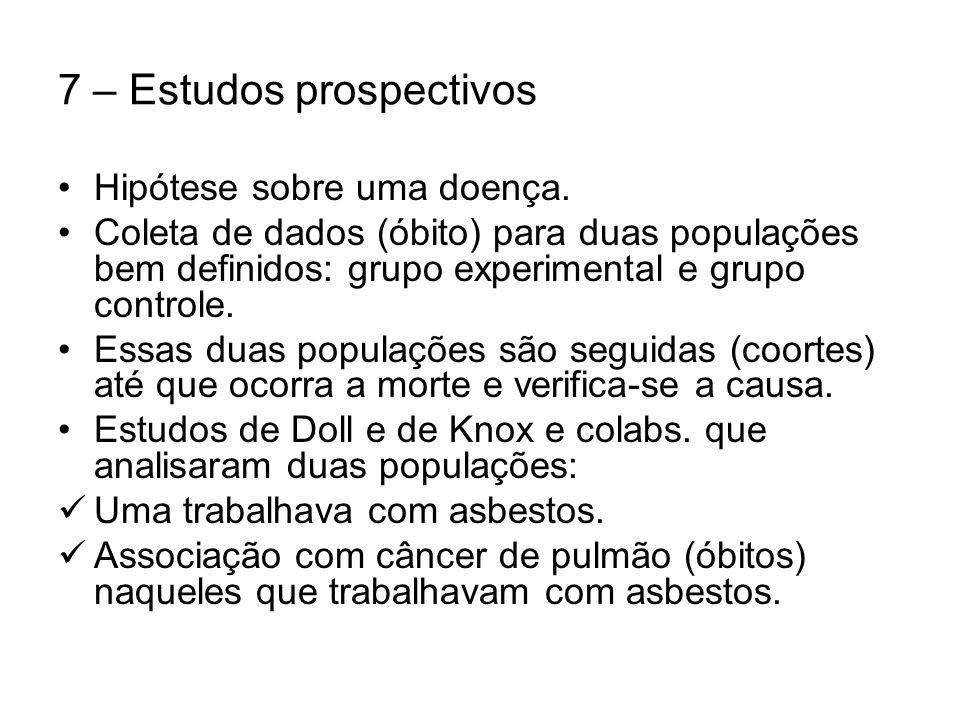 7 – Estudos prospectivos Hipótese sobre uma doença.