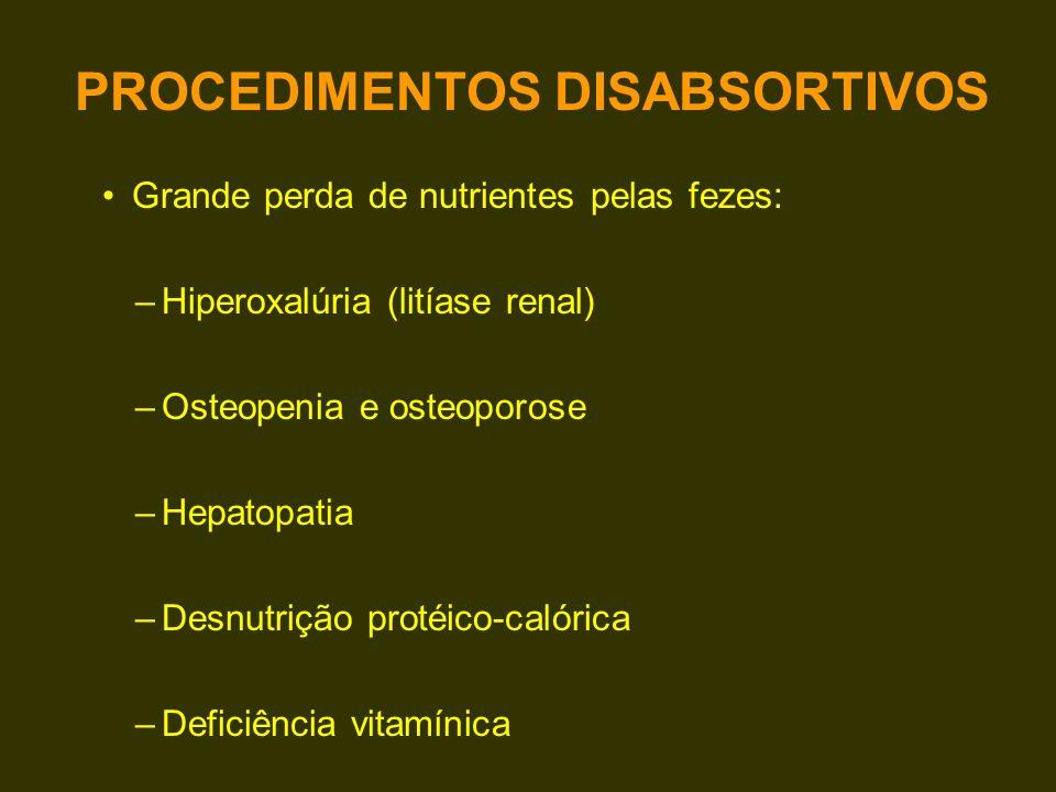 Grande perda de nutrientes pelas fezes: –Hiperoxalúria (litíase renal) –Osteopenia e osteoporose –Hepatopatia –Desnutrição protéico-calórica –Deficiên