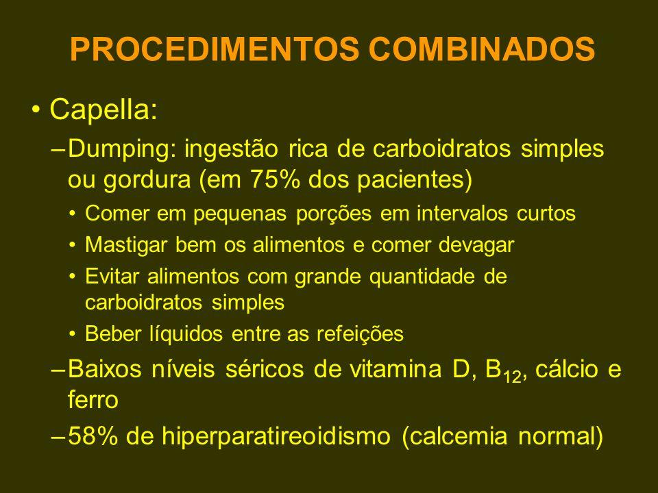 Capella: –Dumping: ingestão rica de carboidratos simples ou gordura (em 75% dos pacientes) Comer em pequenas porções em intervalos curtos Mastigar bem