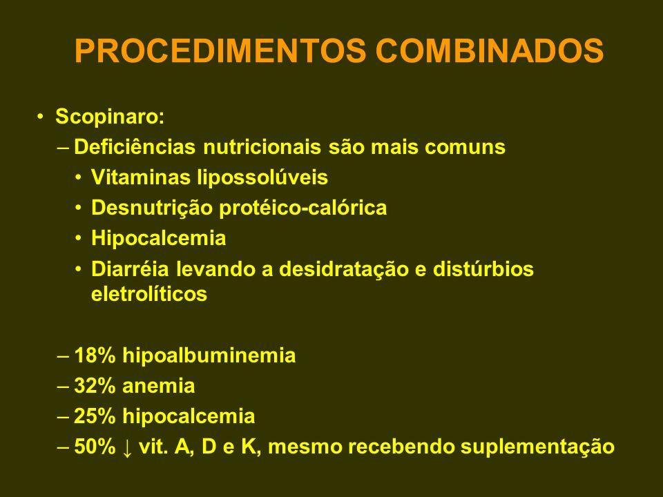 Scopinaro: –Deficiências nutricionais são mais comuns Vitaminas lipossolúveis Desnutrição protéico-calórica Hipocalcemia Diarréia levando a desidrataç