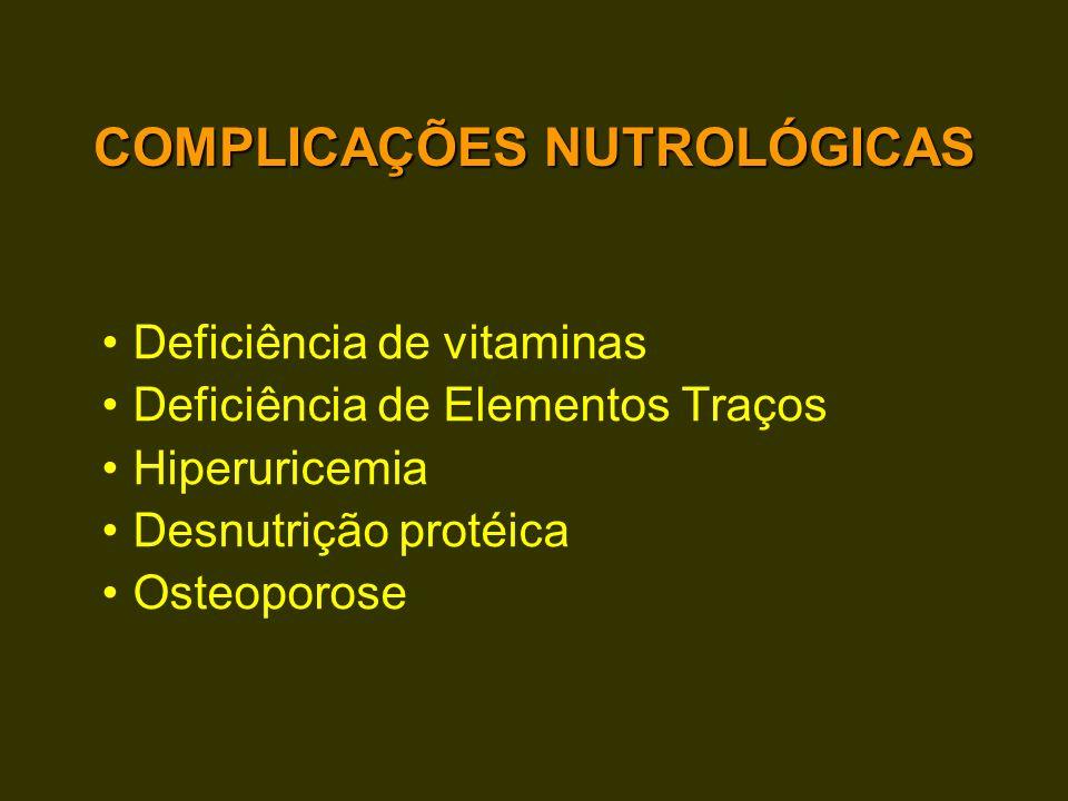 COMPLICAÇÕES NUTROLÓGICAS Deficiência de vitaminas Deficiência de Elementos Traços Hiperuricemia Desnutrição protéica Osteoporose