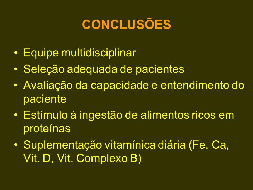 CONCLUSÕES Equipe multidisciplinar Seleção adequada de pacientes Avaliação da capacidade e entendimento do paciente Estímulo à ingestão de alimentos r