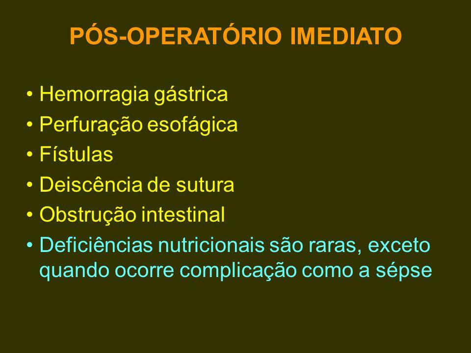 Hemorragia gástrica Perfuração esofágica Fístulas Deiscência de sutura Obstrução intestinal Deficiências nutricionais são raras, exceto quando ocorre
