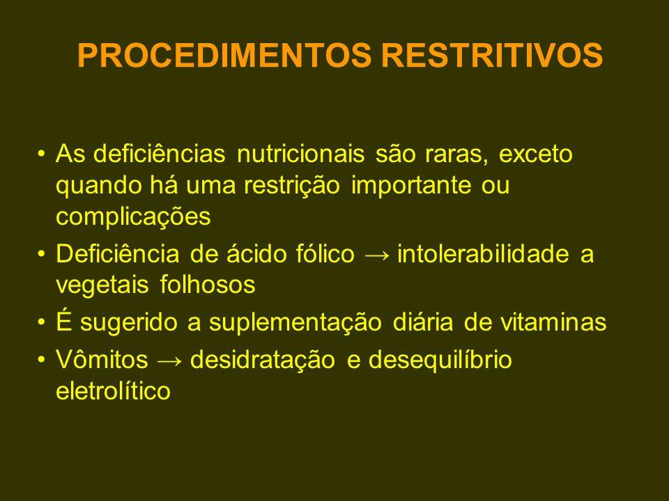 Grande perda de nutrientes pelas fezes: –Hiperoxalúria (litíase renal) –Osteopenia e osteoporose –Hepatopatia –Desnutrição protéico-calórica –Deficiência vitamínica PROCEDIMENTOS DISABSORTIVOS