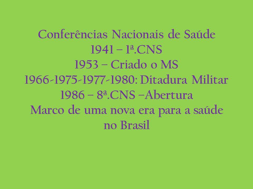 Conferências Nacionais de Saúde 1941 – 1ª.CNS 1953 – Criado o MS 1966-1975-1977-1980: Ditadura Militar 1986 – 8ª.CNS –Abertura Marco de uma nova era p