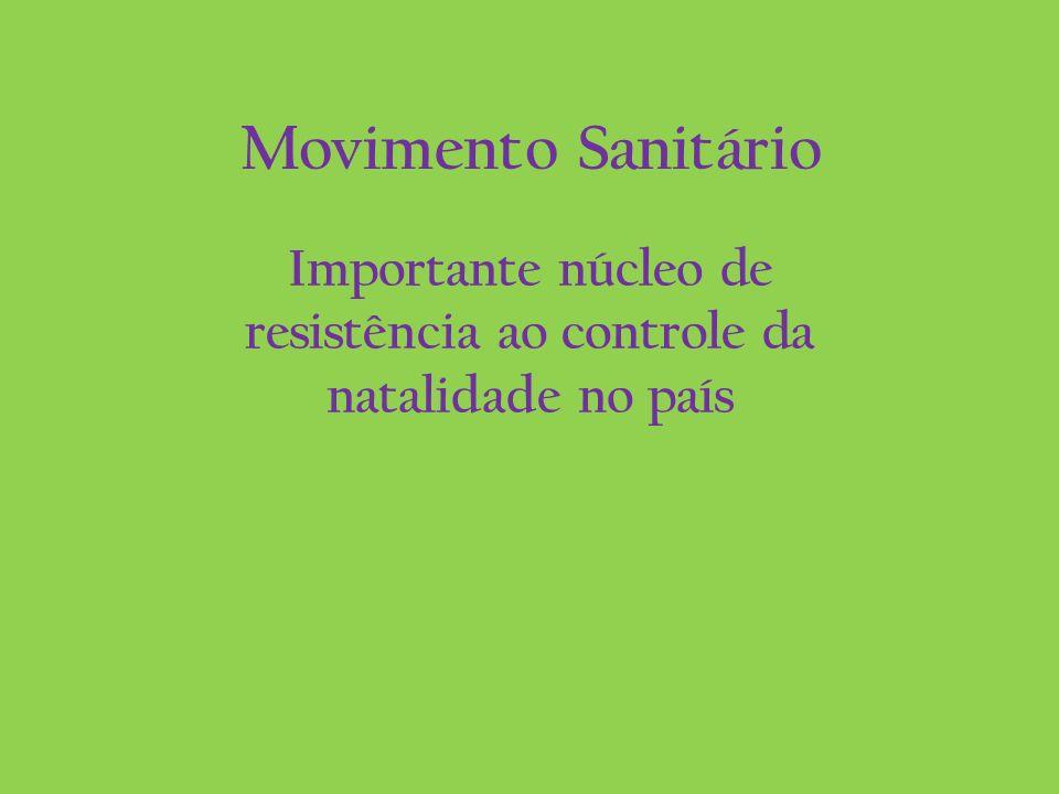 Movimento Sanitário Importante núcleo de resistência ao controle da natalidade no país