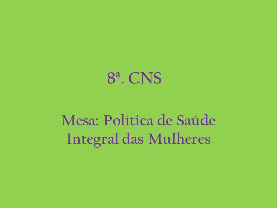 8ª. CNS Mesa: Política de Saúde Integral das Mulheres