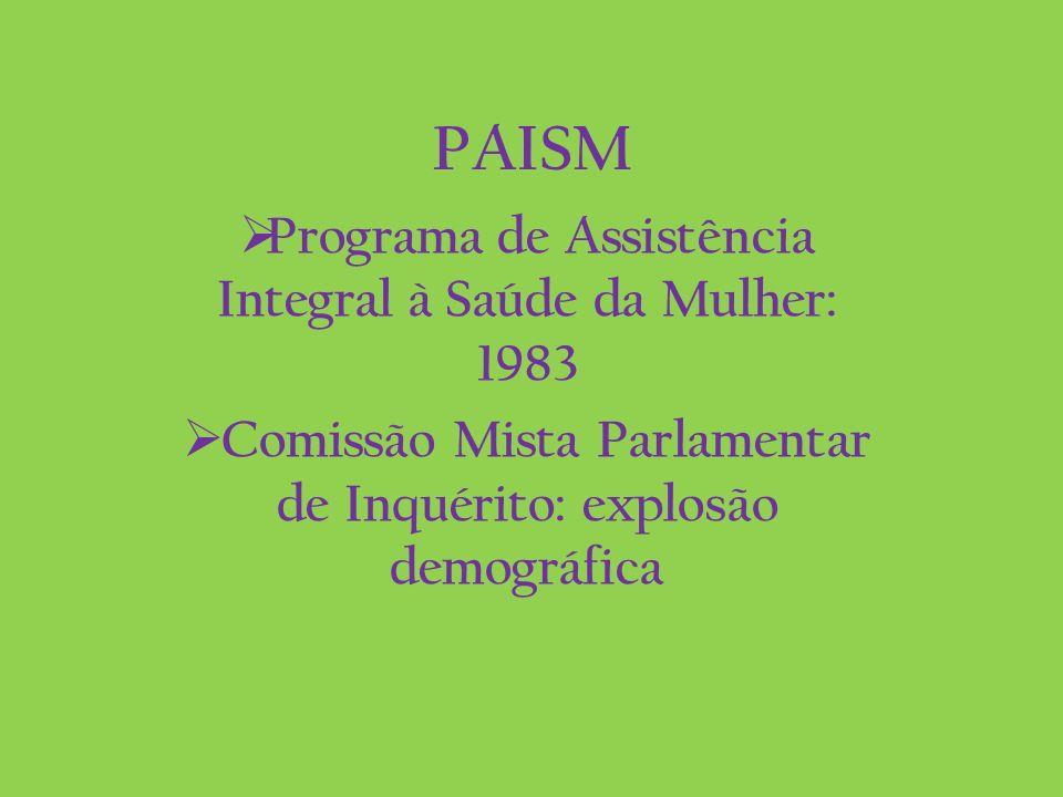 PAISM Programa de Assistência Integral à Saúde da Mulher: 1983 Comissão Mista Parlamentar de Inquérito: explosão demográfica
