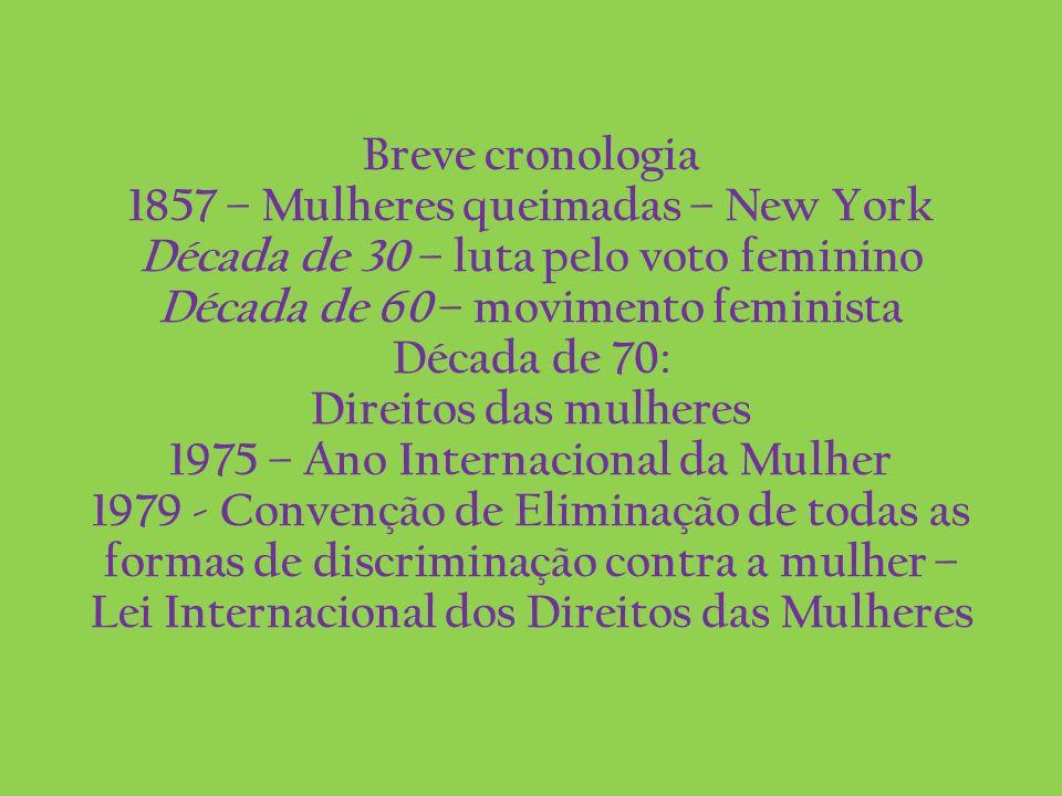 Breve cronologia 1857 – Mulheres queimadas – New York Década de 30 – luta pelo voto feminino Década de 60 – movimento feminista Década de 70: Direitos