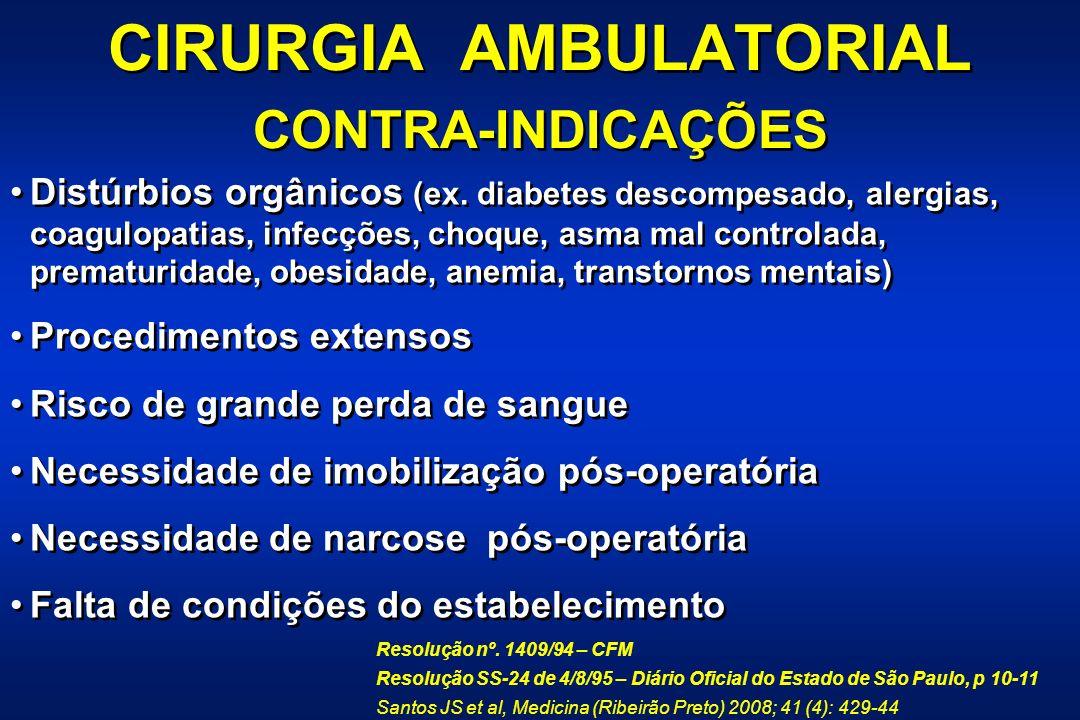 CIRURGIA AMBULATORIAL CONTRA-INDICAÇÕES CIRURGIA AMBULATORIAL CONTRA-INDICAÇÕES Distúrbios orgânicos (ex.
