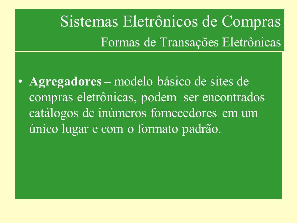 Sistemas Eletrônicos de Compras Formas de Transações Eletrônicas Agregadores – modelo básico de sites de compras eletrônicas, podem ser encontrados ca