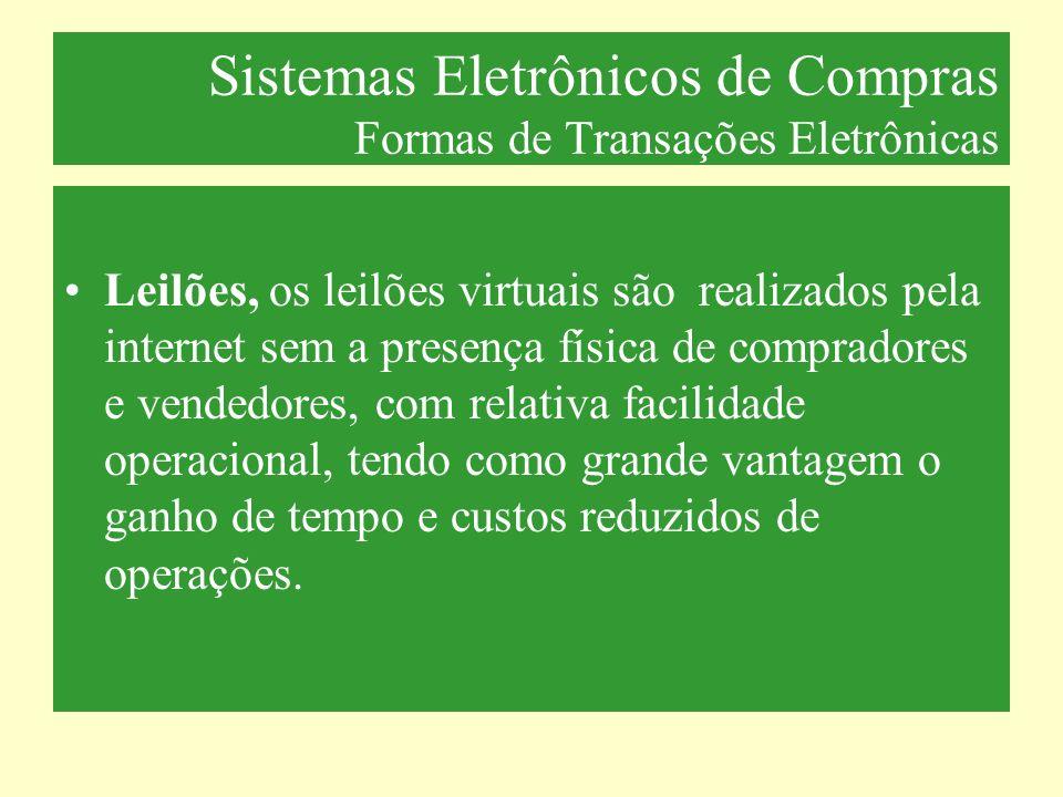 Sistemas Eletrônicos de Compras Formas de Transações Eletrônicas Leilões, os leilões virtuais são realizados pela internet sem a presença física de co