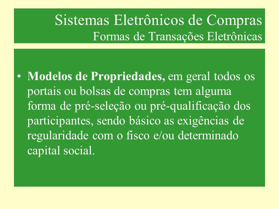 Sistemas Eletrônicos de Compras Formas de Transações Eletrônicas Modelos de Propriedades, em geral todos os portais ou bolsas de compras tem alguma fo