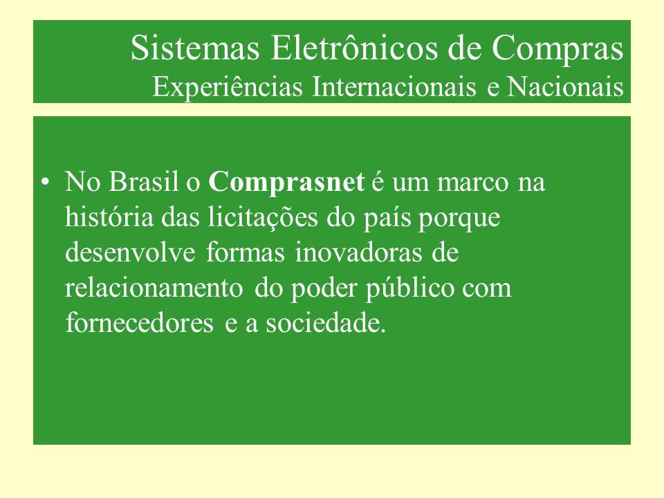 Sistemas Eletrônicos de Compras Experiências Internacionais e Nacionais No Brasil o Comprasnet é um marco na história das licitações do país porque de