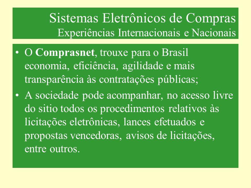 Sistemas Eletrônicos de Compras Experiências Internacionais e Nacionais O Comprasnet, trouxe para o Brasil economia, eficiência, agilidade e mais tran