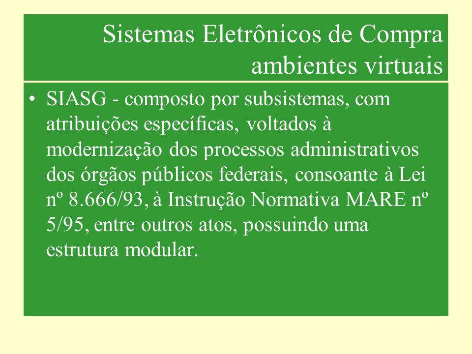 Sistemas Eletrônicos de Compras Subsistemas Catalogo de Materiais – CATMAT: banco de dados com o rol de todos os materiais permanente e de consumo, rotineiramente adquiridos pela Administração Publica Federal.
