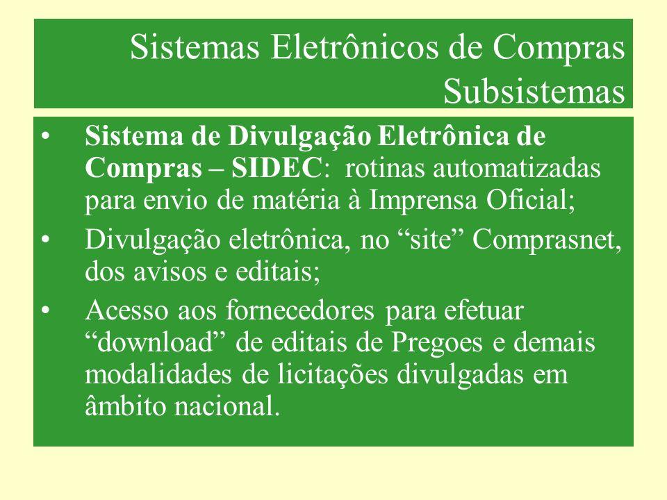 Sistemas Eletrônicos de Compras Subsistemas Sistema de Contratações – SICON: registra e acompanha os contratos firmados pelos órgãos da administração pública federal.