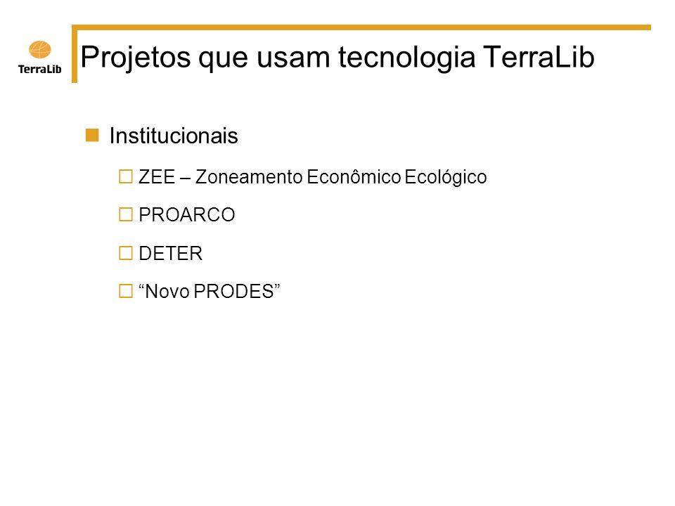 Projetos que usam tecnologia TerraLib Institucionais ZEE – Zoneamento Econômico Ecológico PROARCO DETER Novo PRODES