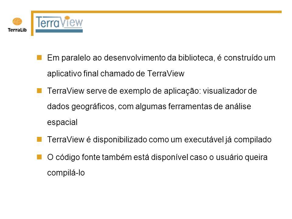 Em paralelo ao desenvolvimento da biblioteca, é construído um aplicativo final chamado de TerraView TerraView serve de exemplo de aplicação: visualizador de dados geográficos, com algumas ferramentas de análise espacial TerraView é disponibilizado como um executável já compilado O código fonte também está disponível caso o usuário queira compilá-lo