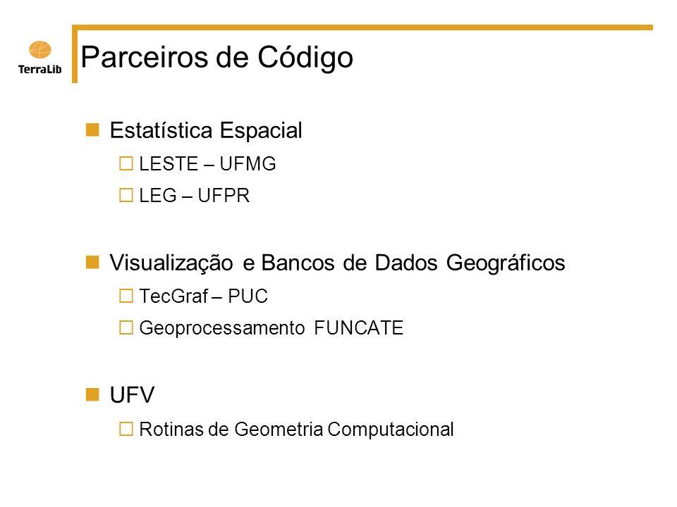 Parceiros de Código Estatística Espacial LESTE – UFMG LEG – UFPR Visualização e Bancos de Dados Geográficos TecGraf – PUC Geoprocessamento FUNCATE UFV Rotinas de Geometria Computacional